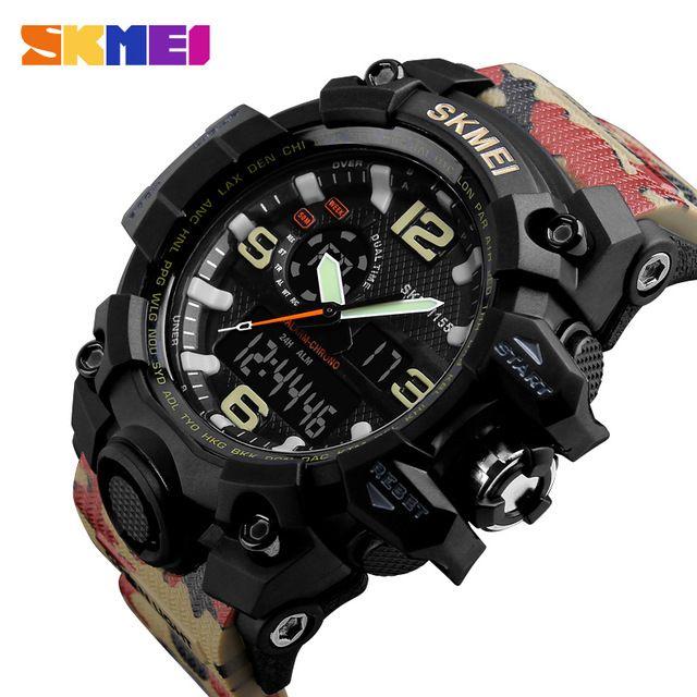 d41733c590b5 Compre Skmei Marca Para Hombre Dial Grande De Choque Deportes Al Aire Libre  Relojes Nueva Digital Led 50 M Impermeable Militar Del Ejército Reloj Reloj  ...