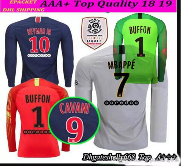 cdc341611 18 19 PSG MBAPPE 7 Champions League LONG SLEEVE SOCCER JERSEYS HOME ...