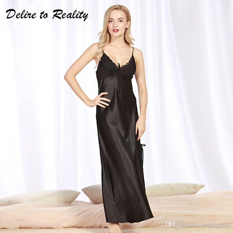 dcd2270bb Compre Longas Mulheres Verão Noite Vestido Plus Size Sexy Lace Camisola De  Cetim De Seda Camisola Night Gown Nightwear CQ311 De Superguys