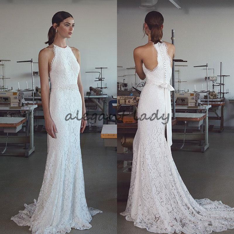 2018 Lihi Hod Bohemian Lace Wedding Dresses Halter Neck Mermaid