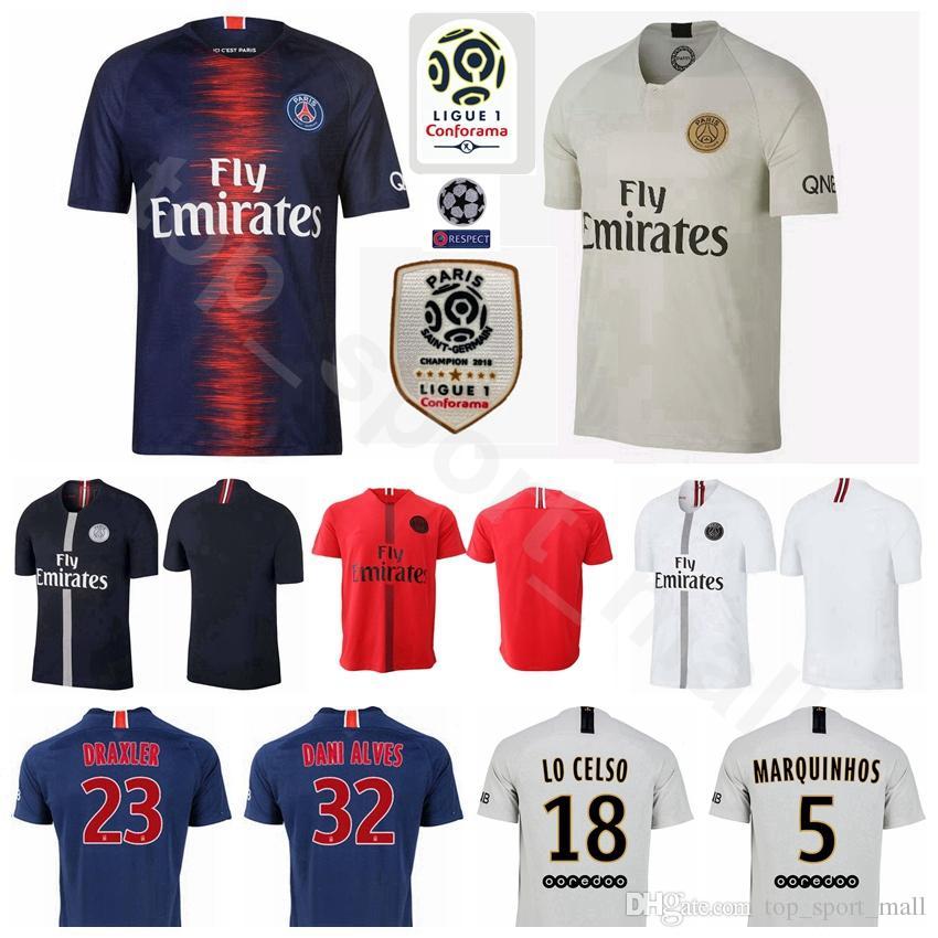 hot sale online de888 d96a4 Ligue 1 Paris Saint Germain Soccer Jersey AJ PSG FC 23 DRAXLER DANI ALVES  LO CELSO MARQUINHOS 10 NEYMAR JR Football Shirt Kits