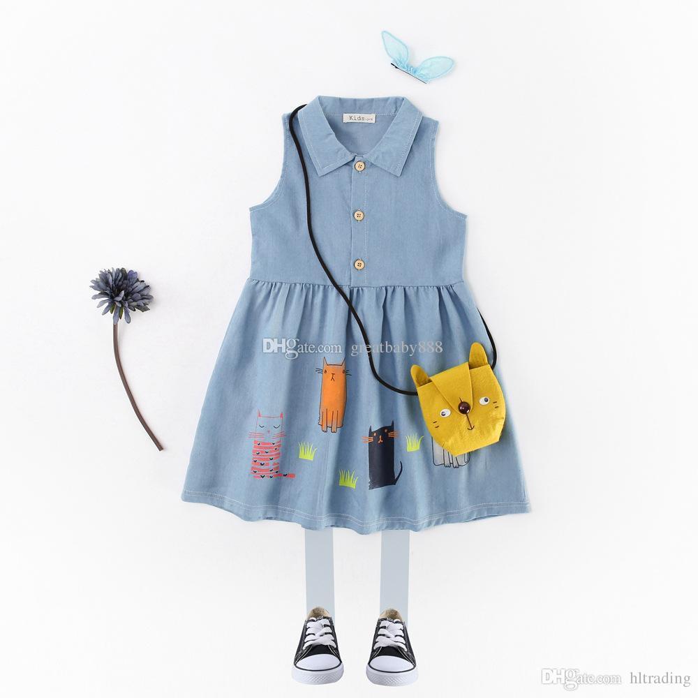2657ea760c3 2019 New Cowboy Dresses Girls Shirts Collars Princess Skirts Kid S  Sleeveless Cartoons Print Summer Kids Korean Edition K001 From Hltrading