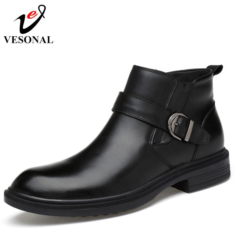 f38be4c1657c VESONAL 2017 Autumn Winter Warm Fur Ankle Boots Men Shoes Male Business  Casual Genuine Leather Quality Slip On Boot Man Bootie Buy Shoes Online  From ...