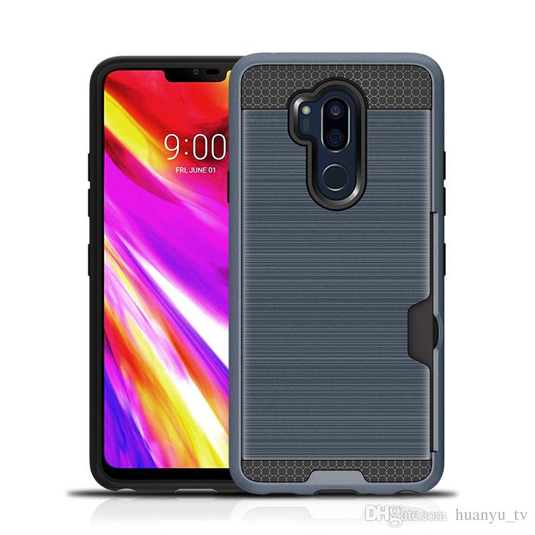 For LG K10 2018 X power Motorola G2 G3 Z play New Armor Hybrid Brush Phone Case Cover With Credit Card Slot OPPBAG
