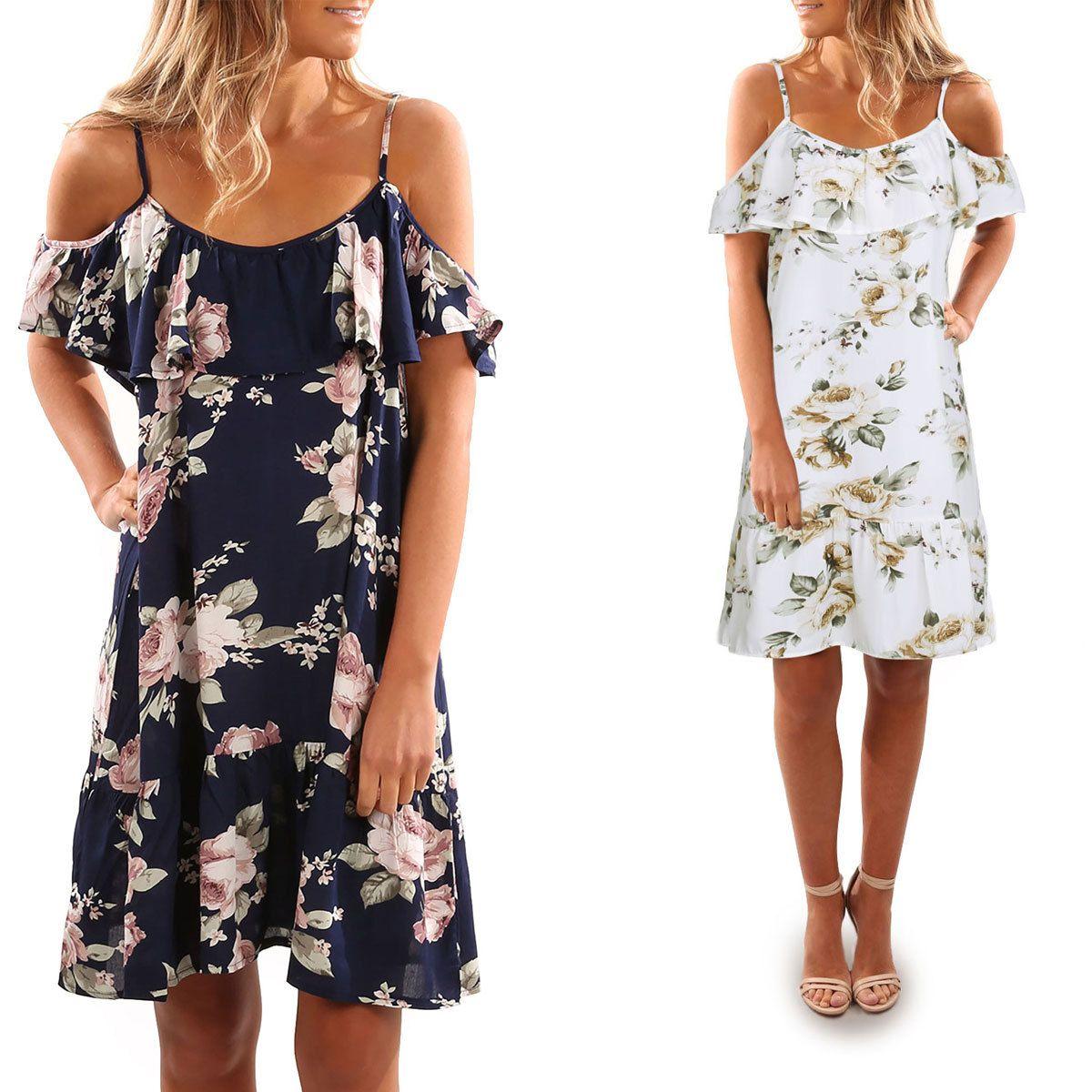 0573259b7 Compre 2018 Mujeres Off Hombro Estampado Floral Plisado Verano Casual  Vestido Strapless Ruffles Holiday Beach Mini Correa Shift Dress AM073 A   33.21 Del ...