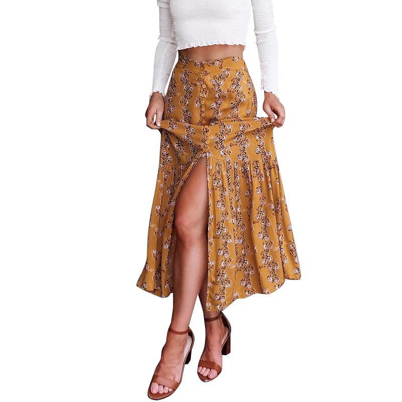 4296a8ef63f Boho floral print long skirt women Button high split maxi skirt female  Summer beach casual streetwear autumn skirt 2018