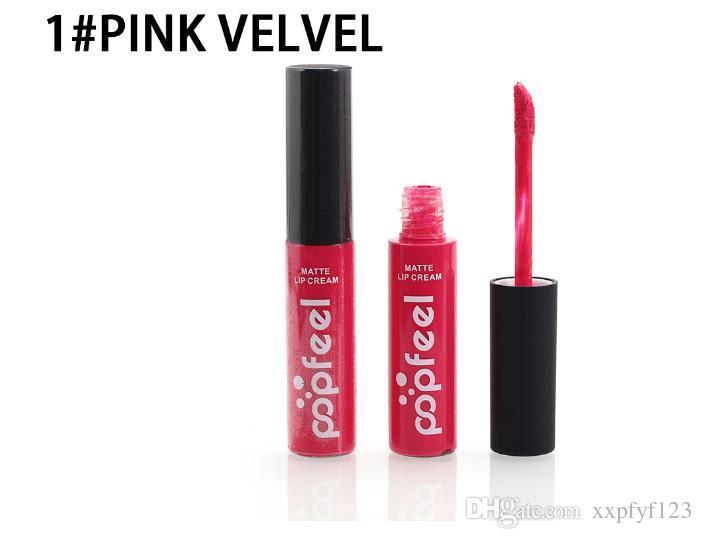 2018 Popfeel Brand Batom Matte Lip Gloss Long Lasting Nude Velvet Lip Cream Tattoo Labiales Matte Liquid Lipstick Cosmetics A426