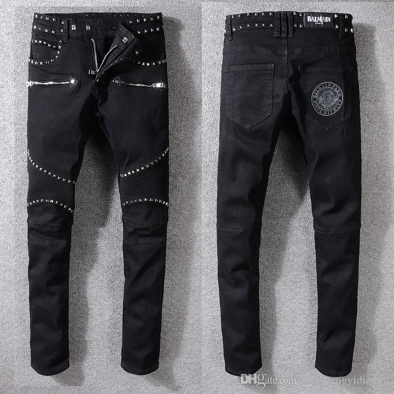 Hot Brand men Black Jeans for Men Knee fold coating waxing locomotive jeans  trousers Motorcycle Pants Casual Denim Pants