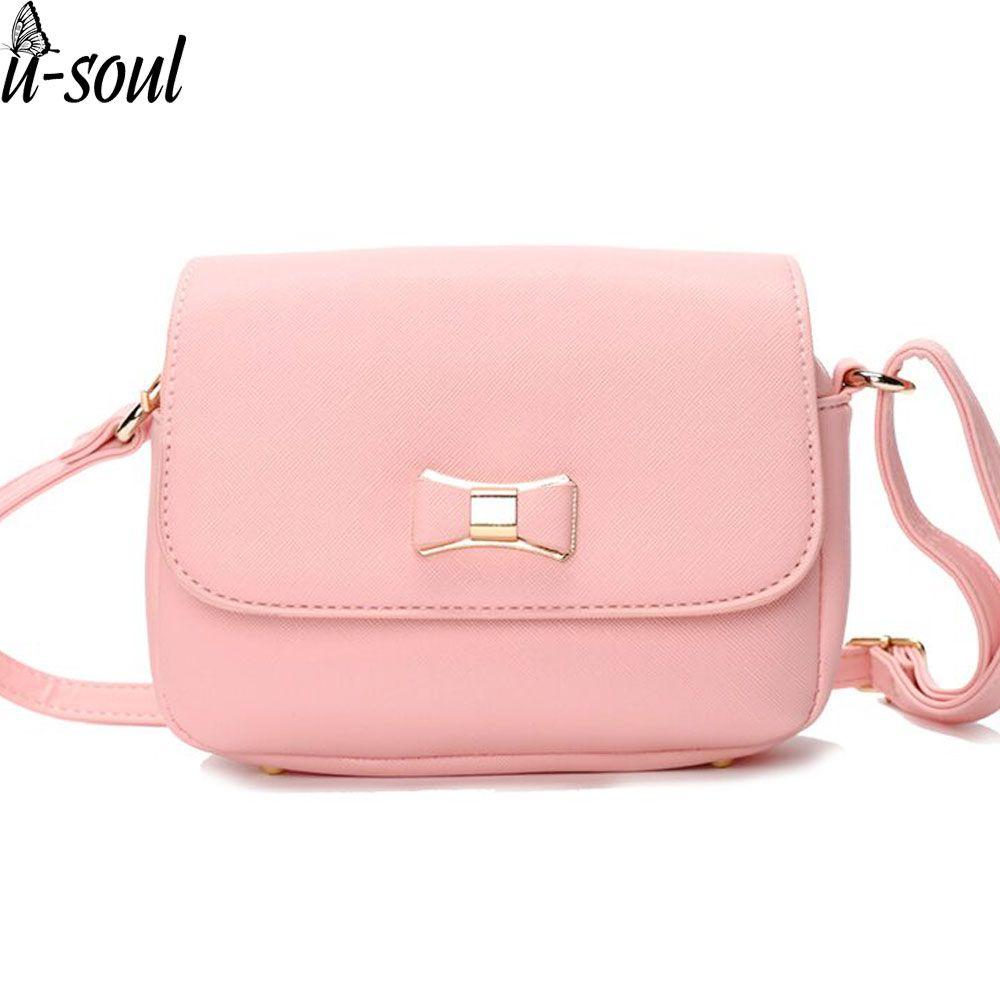 3bf72f795b5b Bow Pink Handbag Women Bag PU Leather Women S Shoulder Crossbody Bags  Ladies Small Handbags Female Shoulder Bag Purse Bags A1441 Crossbody Name  Brand Purses ...