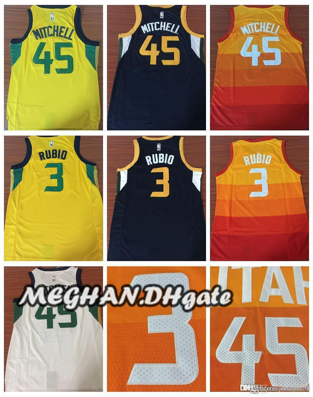 check out c7a27 be2b0 Utah Jazz Mitchell New City Edition Basketball 2018 Jerseys 5 Donovan  Mitchell Jerseys 3 Ricky Rubio 27 Rudy Gobert Stitched Jerseys