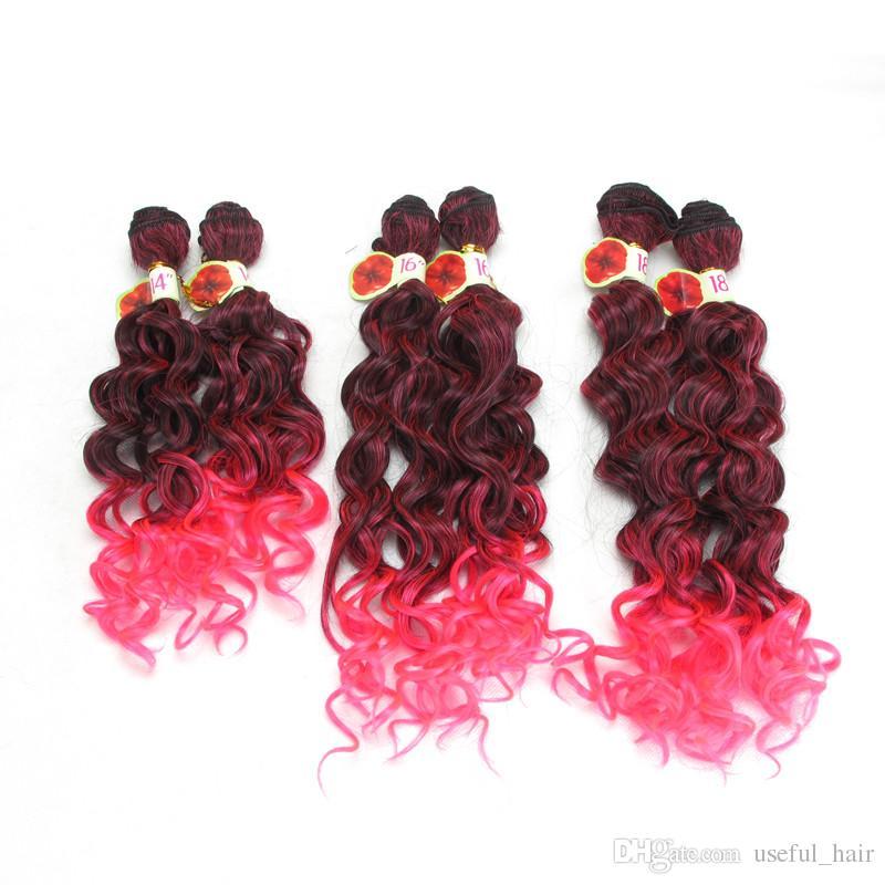 Freetress cabelo onda profunda ondulação do cabelo tranças Jerry encaracolado, profunda kinky curly ombre cor rosa marrom, sintético trança de crochê extensões de cabelo