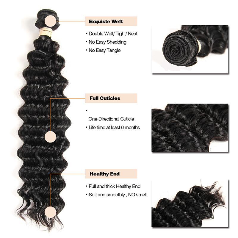 HOTLOVE Mongol Deep Wave 3 bundle Cabello con Encaje Frontal 13 * 4 pulgadas Natural Black Sin Vertimiento Sin Enredado Grado 8A Good Hair