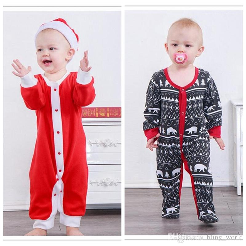106b597a1a32 2019 Christmas Baby Romper Santa Jumpsuits Kids Christmas Onesies Xmas  Infant Long Sleeve Rompers Newborn Baby Girl Designer Clothes YL338 From  Bling world