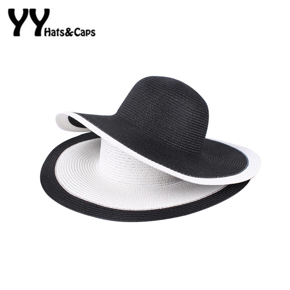 4546cad42 Summer Women Foldable Sunhat Wide Large Brim Beach Sun Hat Straw Beach Cap  Ladies EleHats Girls Vacation Tour Hat YY60171