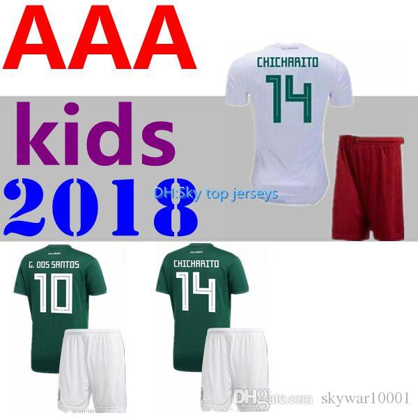 12aacc3bf 2019 2018 World Cup Mexico Kids Soccer Jersey 18 19 Home Soccer Jerseys  Uniforms Fans Version CHICHARITO LOZANO MARQUEZ Football Kit Shirts From  Skywar10001 ...