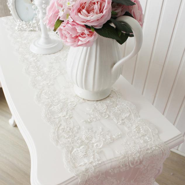 Attirant Luxury Pendant Crystal Refined White Floral Lace Table Runner Classical  Coffee Table Cover For Home Or Hotel Wedding Decoration Quilting Table  Runners Red ...