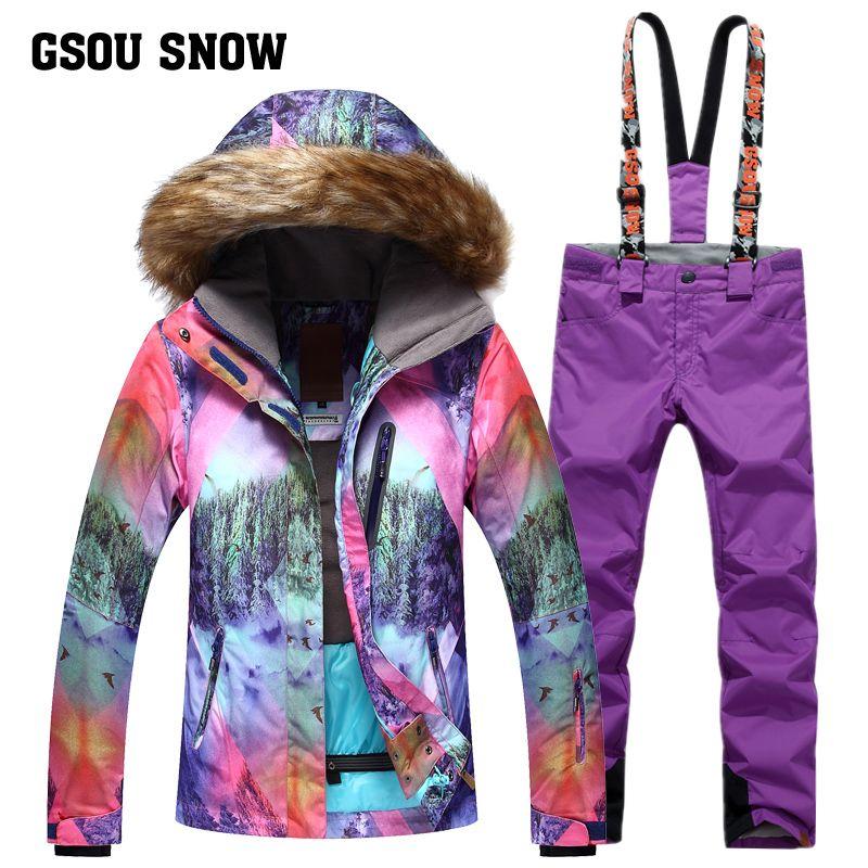 GSOU SNOW Brand Ski Suit Women Ski Jacket Pants Waterproof Mountain ... c66afa3bf97a