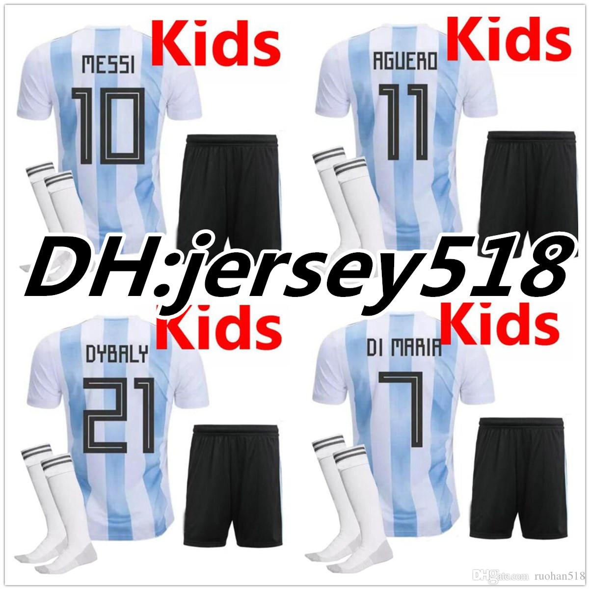 e9e94d748 Argentina Kids 2018 World Cup Soccer Jersey Kit Home DYBALA Soccer ...