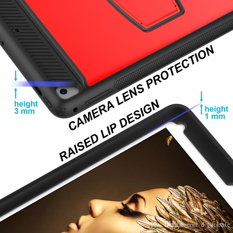 PC Rugged Silicone Armor Kickstand Hybrid Cover for iPad Pro 9.7 2018 2017 / for iPad 6 Air 2 Tablet Back Case