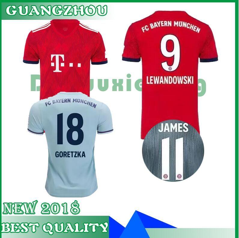 Top Thailand Bayern Munich JAMES RODRIGUEZ Soccer Jersey 2018 2019  LEWANDOWSKI MULLER KIMMICH Jersey 18 19 HUMMELS Football Shirt S XL UK 2019  From ... 2b18415d5