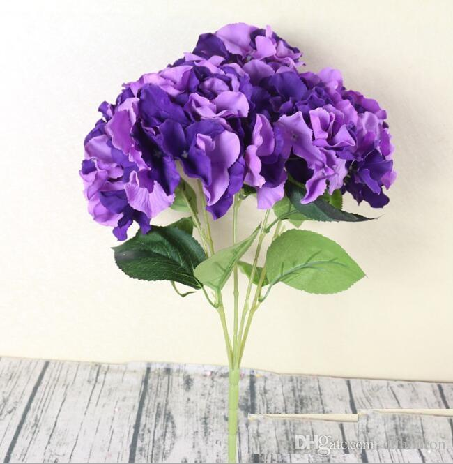 Hydrangea artificial flowers 5 Big Heads Bounquet wedding decoration artificial plants home decoration accessories SF05