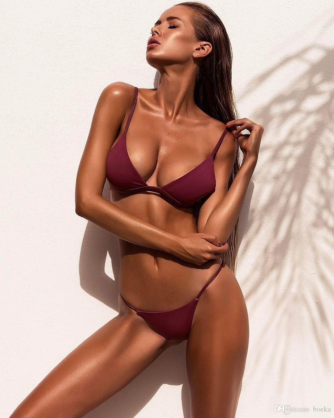 Mujeres Sexy De Top Micro Monokini Bikinis Maillot Brasileños Bain Tanga Traje Playa Solid Bikini 2018 Baño Set X8nwO0PNk