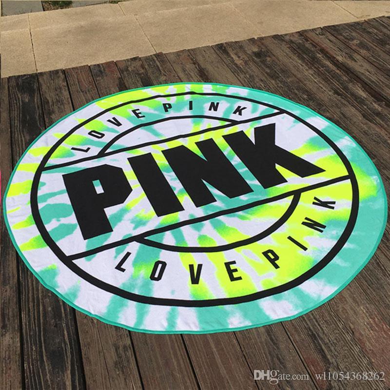 Lannidaa 그린 핑크 브랜드 성인을위한 라운드 비치 타월 대형 스포츠 타월 인쇄 된 150CM 냅킨 마이크로 화이버 타올