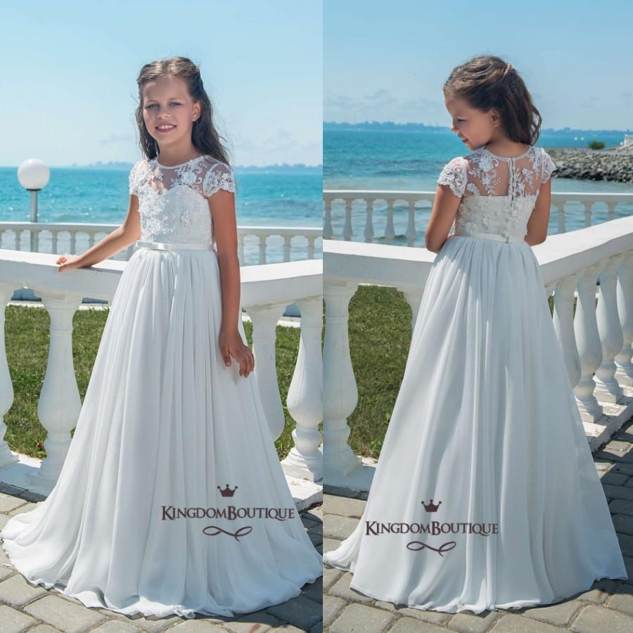 fcad20943 2018 Spring Summer Boho Flower Girl Dresses A Line Cap Sleeves Appliques  Chiffon Long Girls Wedding Birthday Dress With Sash Cheap Flower Girl  Dresses For ...