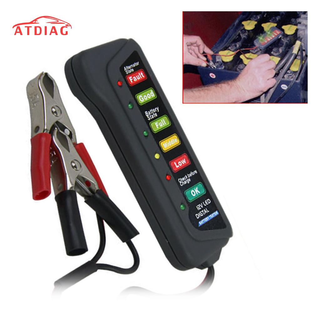 Battery Tester Digital Capacity Tester Checker For 12V Battery Power Supply Measuring Instrument with 6 LED light Display