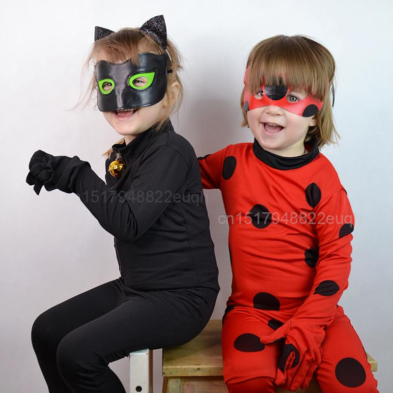 2018 girls lady bug costumes miraculous ladybug cat noir cosplay costume for boys adrien marinette kids party halloween clothes mask y1891202 from