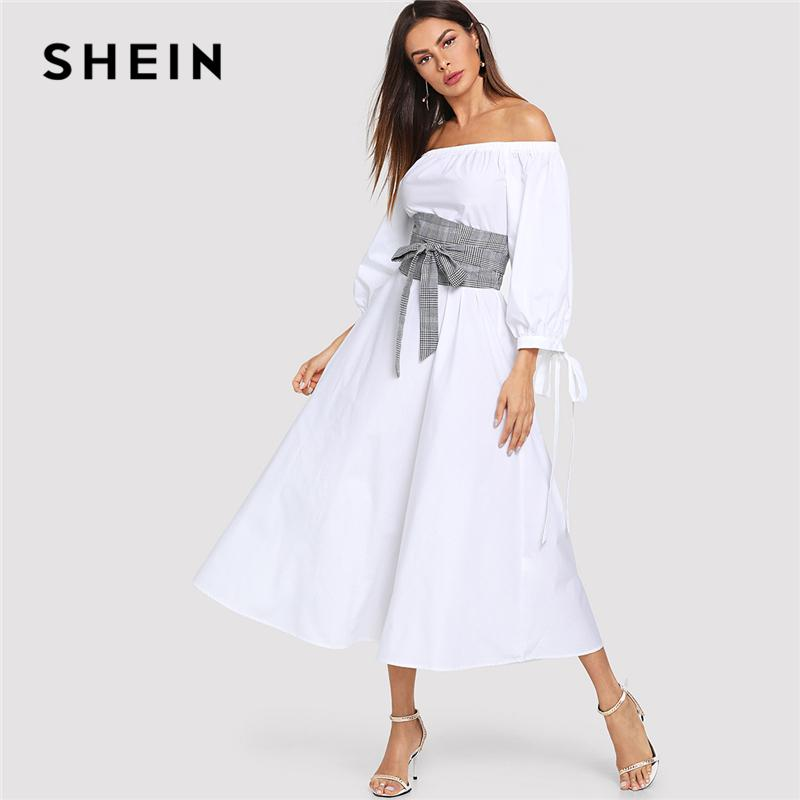 50b1114e53 2019 SHEIN White Highstreet Office Lady Lantern Sleeve Bardot Off The Shoulder  Dress With Plaid Belt 2018 Autumn Women Casual Dresses From Ruiqi01, ...
