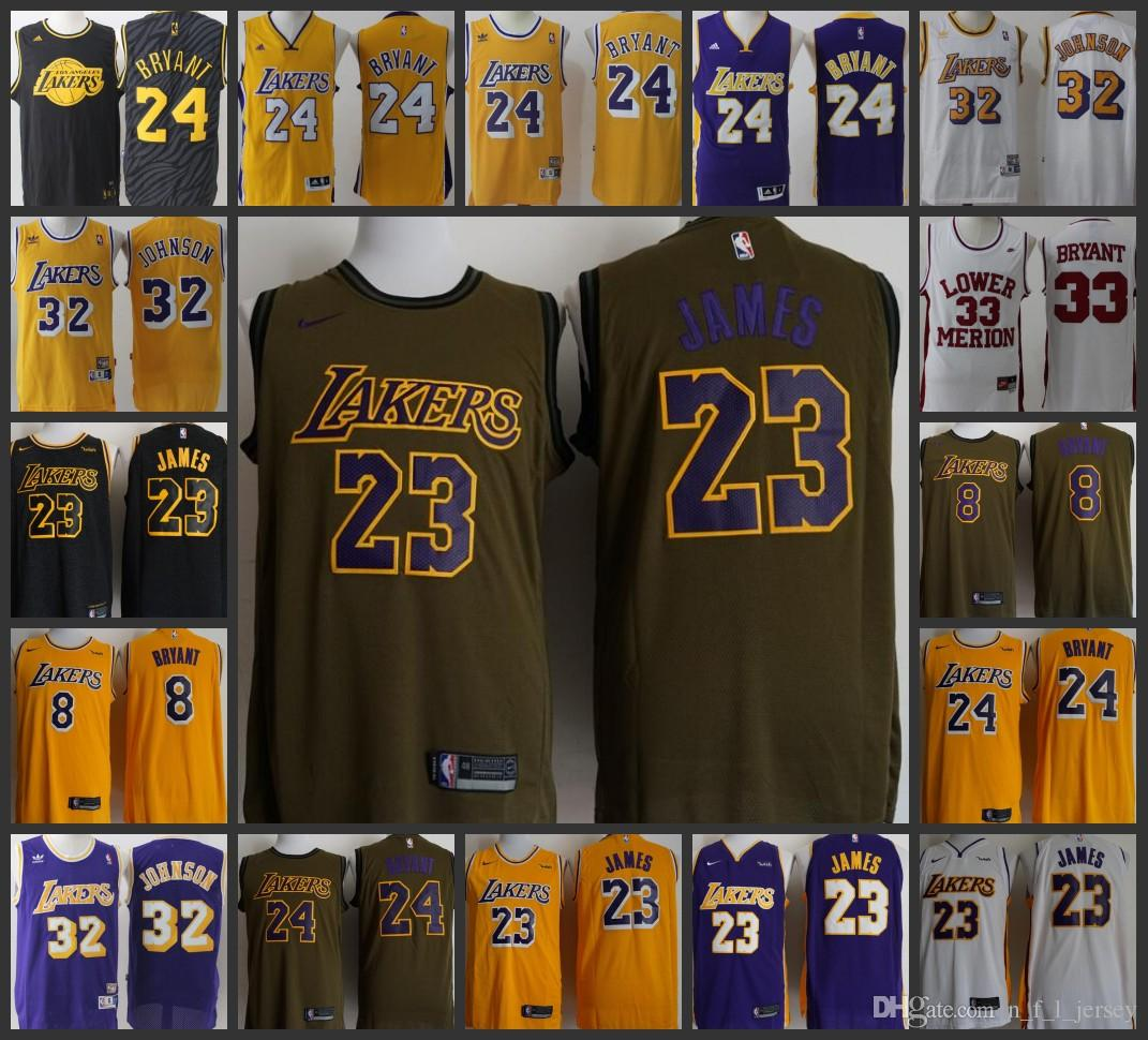 size 40 9e8c4 58360 Los Angeles Men Lakers Jersey #23 LeBron James 8 24 Kobe Bryant 32 Earvin  Johnson Stitched Jerseys
