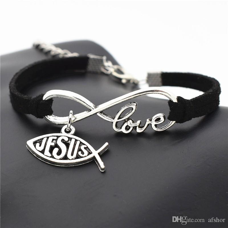 AFSHOR 2018 New Design Christmas Jewelry Fashion Cute Charm Leather Wrap Love Infinity Bracelet For Women Men Jesus Cross Fish Pattern Gifts