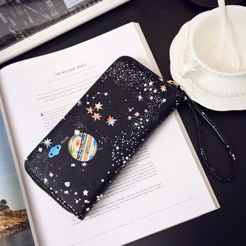 Frauen Brieftasche Weiblichen Leder Geldbörse Kartenhalter Lange Kupplung Raum Armband Telefon Geldbörsen Druck Designer Cash Pocket Wallets