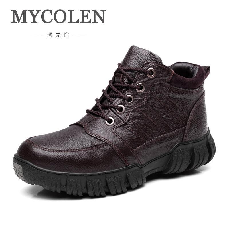 cf60c98d5 MYCOLEN Super Warm Winter Men Boots Minimalist Design Genuine Leather Boots  Men Winter Shoes Botas Nieve Hombre