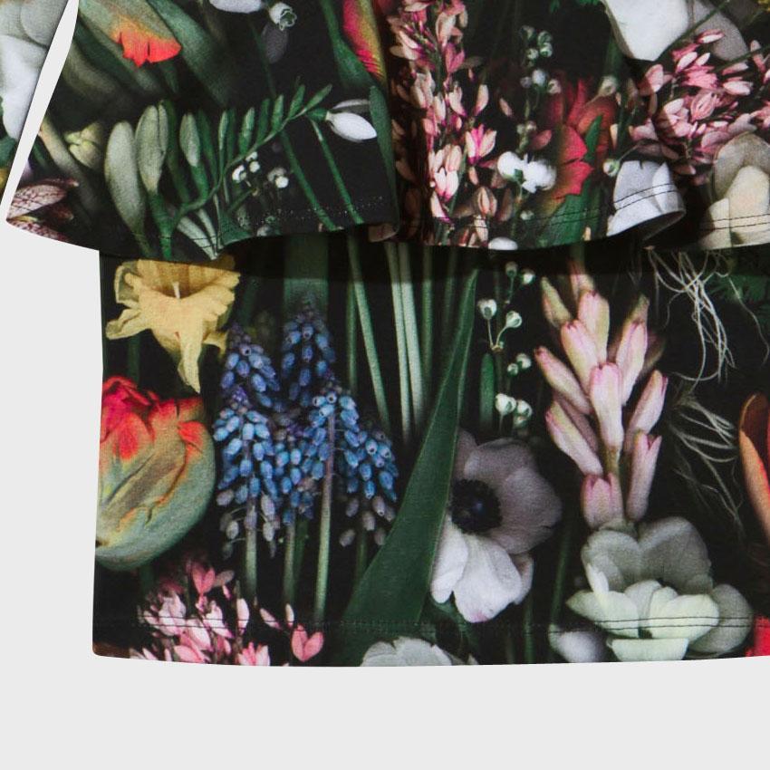 Bahar Kızlar Elbiseler Botanik Desen Diz boyu Kız Elbise O-Boyun Kızlar Uzun Düğün Çiçek Elbise Vestidos
