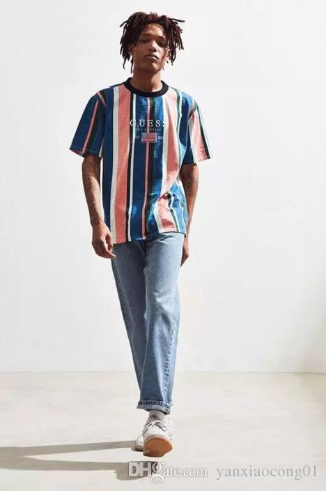 57bb247f0258 2019ss ASAP Rocky Brand New Striped Men Casual Short Sleeved T Shirts Women  Embroidery Fashion Tees Tops Tshirts Tee Shirts M 2XL #601 Now T Shirts  Deal ...