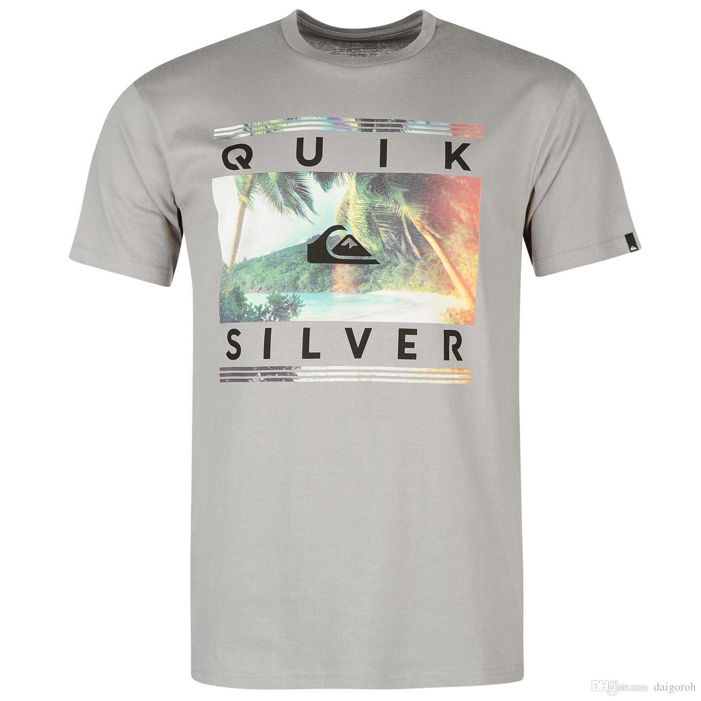 Quiksilver Good Time T-Shirt Mens Grey Casual Wear Top Tee Shirt