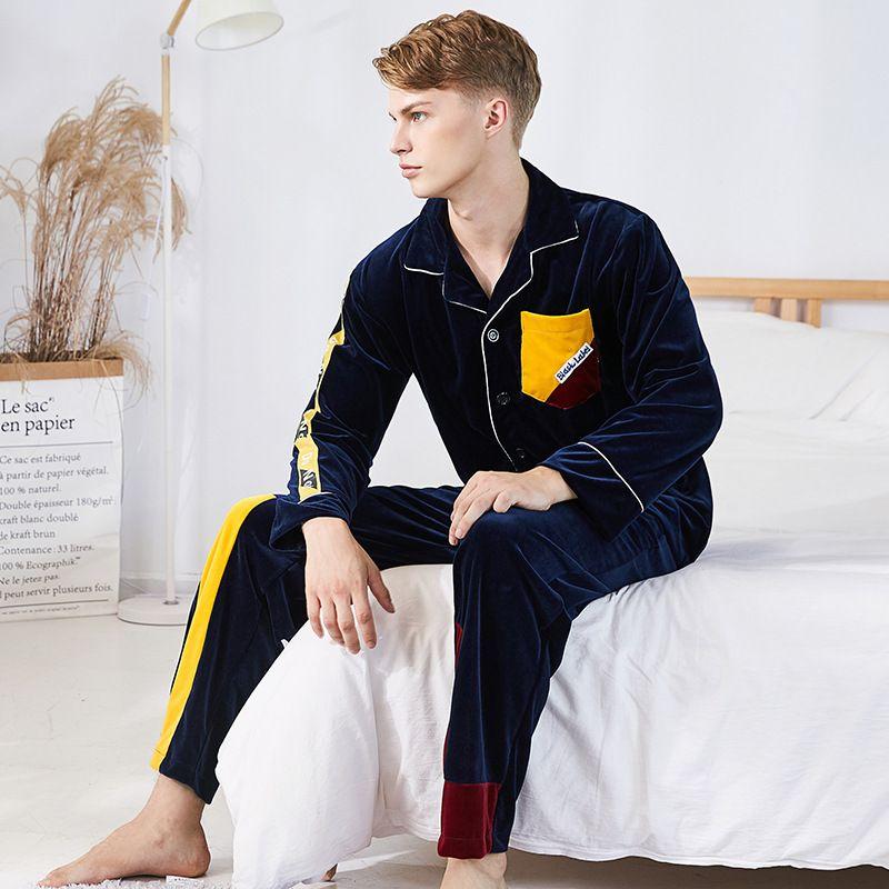 Herren-pyjama-garnituren Winter 2 Stück Set Top Und Hosen Flanell Pyjamas Für Männer Pyjama Set Nachtwäsche Anzug Loungewear Männlichen Nachtwäsche Hause Tragen Plus Größe