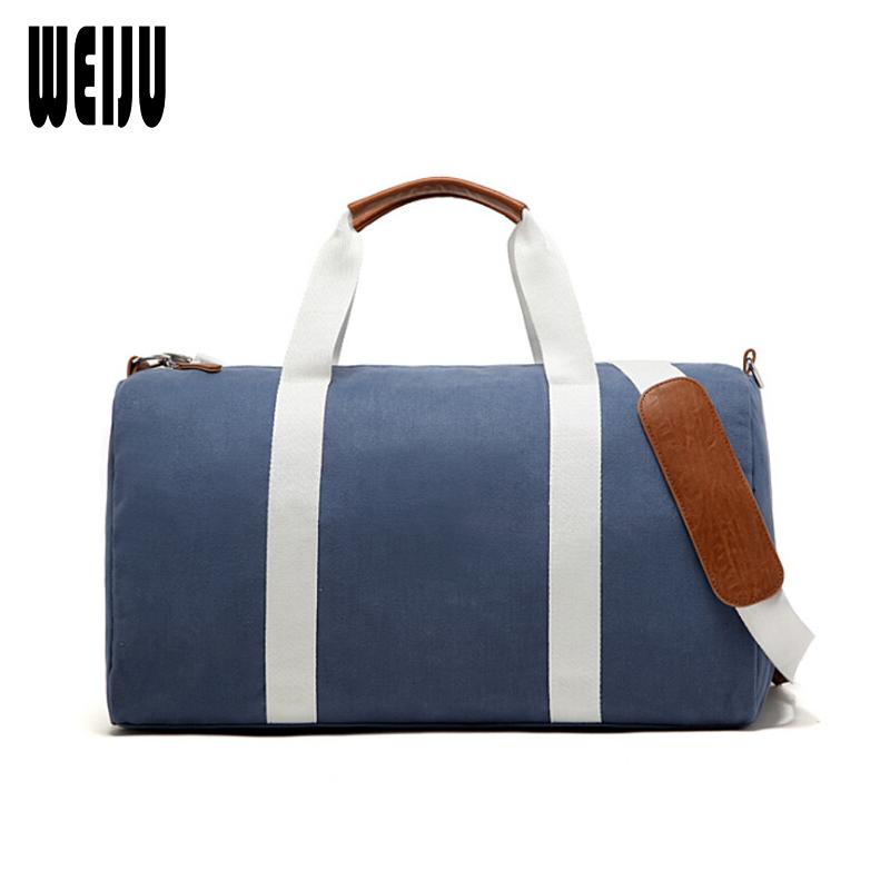 4636bb4584 WEIJU 2017 New Canvas Men Travel Bags Large Capacity Hand Luggage Bag  Female Travel Duffle Bags Leisure Weekend Bag Camo Suitcase Leather  Suitcases From ...