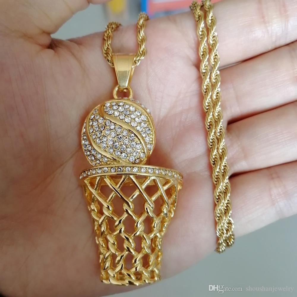 Stainless Steel Jewelry hip hop basketball Sports Pendant Necklace with 3mm 24inch Rope Chain SN124