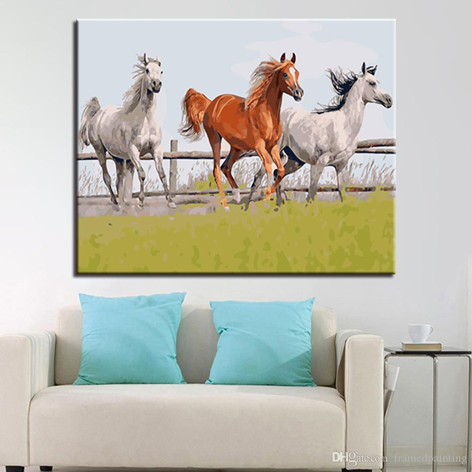 DIY Oil Painting By Numbers Kits Coloring Handpainted Three Horses Running Pictures On Canvas Home Decor For Living Room Framed