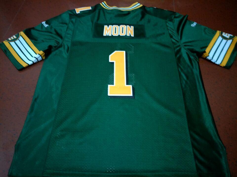 2019 Men Edmonton Eskimos  1 WARREN MOON White Green Real Full Embroidery  College Jersey Size S 4XL Or Custom Any Name Or Number Jersey From Ttl123 5d6e23b33