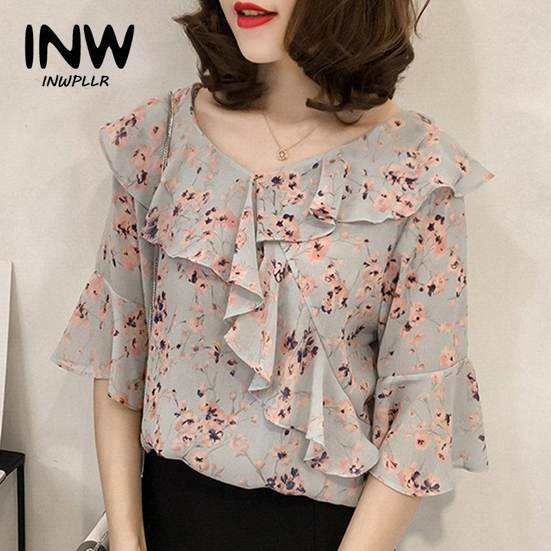 92a5b9528add 2019 2018 Summer Plus Size Tops Women Fashion Chiffon Blouses Shirts  Ruffles V Neck Short Sleeve Shirts Floral Print Blusas Mujer From Baicao