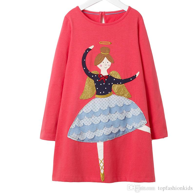 636e4ed76a2 2019 Hot Sale Girls 100% Cotton Long Sleeve Casual Princess Dresses  Applique Cartoon Baby Girl Dress Lovely Baby Clothing From Topfashionkids