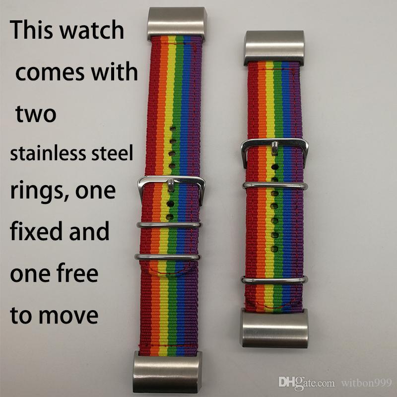 fitbit 차지 2 스마트 시계 밴드 레인보우 나일론 밴드 디자인 나일론 직물 스테인리스 클래식 버클과 fitbit에 대 한 교체 스트랩