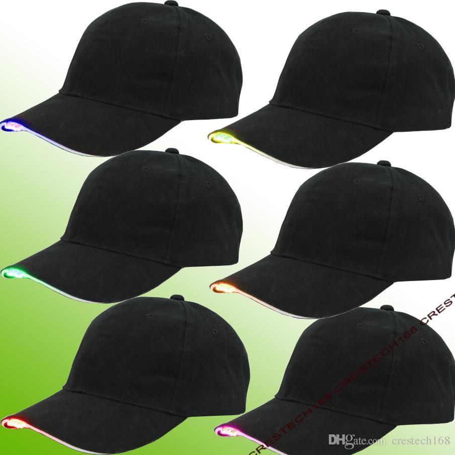 LED de iluminação de moda baesball chapéus Tecido de Algodão Preto LED Iluminado Brilho Clube Chapéus de Festa de Viagem Boné de Beisebol
