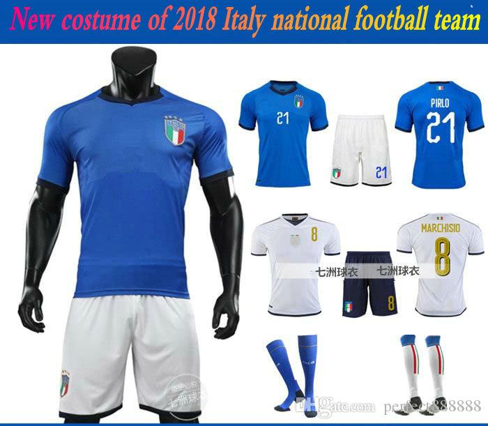 reputable site 538a6 8d756 Children s Italy National Team Football Sport Suits 2018 World Cup Soccer  Uniform PIRLO Clothes Shorts Socks Protective Training Uniforms