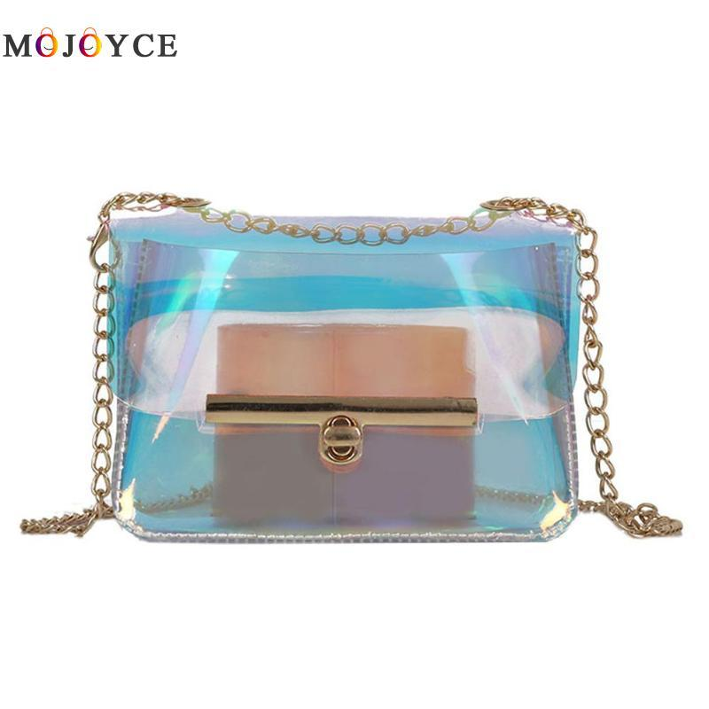 c322f30168fe Women Clear Holographic Handbag Small Crossbody Messenger Bags Laser Colors Shoulder  Chain Mini Bag Leather Backpack Purse Handbags For Sale From Amoyshoes