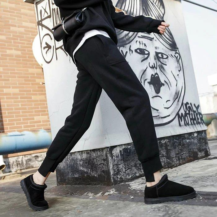 Cakucool mujeres invierno delgado harén pantalón espesar lana interior larga lápiz pantalones sólidos bolsillos negros Casual Capris pantalones mujer